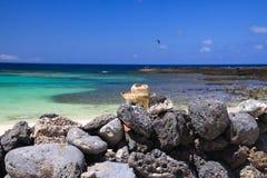 Cabeça da mulher loura com o chapéu de palha que senta-se atrás da parede de rochas naturais empilhadas na praia com oceano de tu imagens de stock royalty free