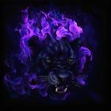 Cabeça da pantera nas chamas ilustração stock