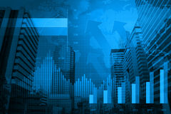 Cabeça da seta com carta e gráficos financeiros Foto de Stock Royalty Free