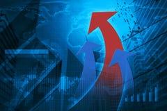 Cabeça da seta com carta e gráficos financeiros, elementos deste ima Fotografia de Stock Royalty Free