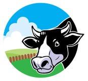 Cabeça da vaca com fundo da pastagem Imagem de Stock Royalty Free