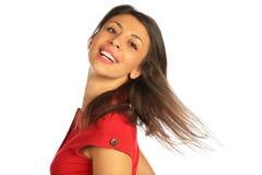 Cabeça da volta da mulher, cabelo de voo Imagens de Stock