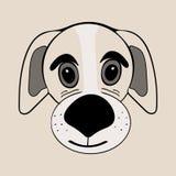 Cabeça de cão engraçada bonito dos desenhos animados do cachorrinho Fotos de Stock