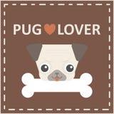 Cabeça de cão feliz bonito do pug com logotipo do osso no fundo marrom ilustração stock