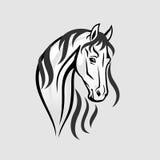 A cabeça de cavalo em preto e branco - ilustração Fotografia de Stock Royalty Free