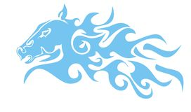 Cabeça de cavalo flamejante azul Foto de Stock Royalty Free