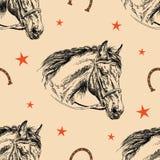 Cabeça de cavalo sem emenda do teste padrão do vetor Fotografia de Stock