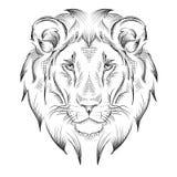 Cabeça de desenho étnica da mão do leão projeto do totem/tatuagem Uso para a cópia, cartazes, t-shirt Ilustração do vetor ilustração do vetor