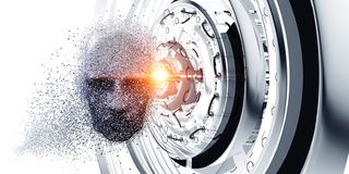Cabeça de Digitas, conceito da inteligência artificial imagem de stock