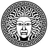 Cabeça de Gorgon do Medusa com cabelo da serpente. Imagem de Stock