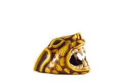 Cabeça de Jaguar com boca aberta e os dentes grandes Imagens de Stock Royalty Free