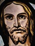 Cabeça de Jesus no vitral fotografia de stock royalty free
