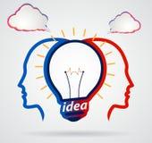 A cabeça de pensamento com discurso nubla-se, unidade do pensamento Foto de Stock Royalty Free