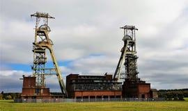 A cabeça de poço fechado longa de carvão em reis Clipstone em Nottinghamshire fotos de stock