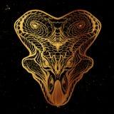 Cabeça de Protoceratops Esboço no fundo nightsky Foto de Stock