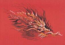 Cabeça de um dragão vermelho Fotos de Stock Royalty Free