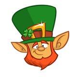 Cabeça de um duende de sorriso, o símbolo do dia de St Patrick Ilustração do vetor Foto de Stock Royalty Free