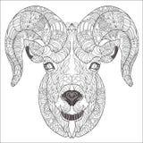 Cabeça decorativa da cabra ou da ram Ilustração do Vetor