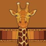 Cabeça decorativa do girafa Fotos de Stock
