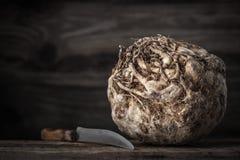 Cabeça do aipo com a faca na tabela de madeira horizontal Fotografia de Stock