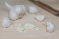 Cabeça do alho com faca Imagem de Stock