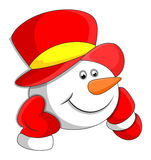 Cabeça do boneco de neve dos desenhos animados ilustração do vetor