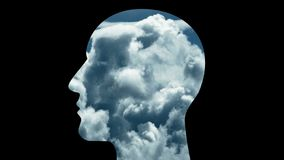 a cabeça do cérebro 4k conecta linhas digitais, inteligência artificial do AI, computação da nuvem ilustração royalty free