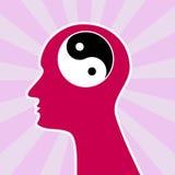 Cabeça do conceito de yang do yin da mente ilustração royalty free