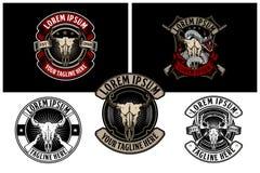 Cabeça do crânio do búfalo de América com molde retro do logotipo do crachá do vetor do rifle ilustração royalty free