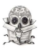 Cabeça do crânio da arte no dia da caixa do festival inoperante Imagem de Stock