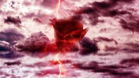Cabeça do diabo no inferno ilustração do vetor