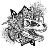 Cabeça do dinossauro do crânio e das flores do turex ilustração do vetor