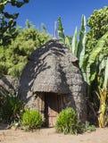 A cabeça do elefante gosta da casa tradicional de Dorze Vila de Hayzo, Omo V Imagem de Stock Royalty Free