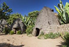 A cabeça do elefante gosta de casas tradicionais de Dorze Vila de Hayzo, Omo Fotos de Stock Royalty Free
