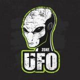 Cabeça do estrangeiro e a zona do UFO ilustração stock