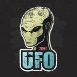 Cabeça do estrangeiro e a zona do UFO ilustração do vetor