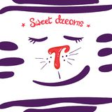 Cabeça do gato dos desenhos animados, olhos fechados sonhos doces da frase ilustração do vetor