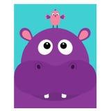 Cabeça do hipopótamo que facelooking até o pássaro Hipopótamo bonito do personagem de banda desenhada com dente Ícone violeta do  Fotos de Stock