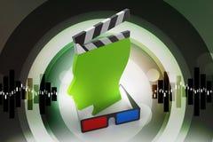 cabeça do homem da placa do aplauso do cinema 3d dada forma ilustração do vetor