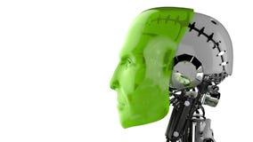 Cabeça do homem robótico Fotos de Stock Royalty Free