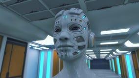 Cabeça do Humanoid e sala futurista Ilustração Royalty Free