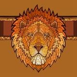 Cabeça do leão com ornamento étnico foto de stock royalty free