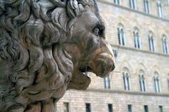 Cabeça do leão de pedra na perspectiva da parede medieval Foto de Stock