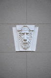 Cabeça do leão - decoração da parede da construção histórica, Moscou, Rússia Imagens de Stock Royalty Free