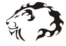 Cabeça do leão. Preto no branco Fotos de Stock Royalty Free