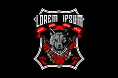 Cabeça do lobo com vetor da máquina e da rosa da tatuagem ilustração do vetor