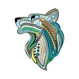 Cabeça do lobo do vintage com o ornamento étnico colorido Fotos de Stock Royalty Free