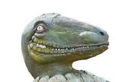 Cabeça do olhar do dinossauro da ave de rapina por um olho um sorriso do bocado quando ele chapéu fotos de stock