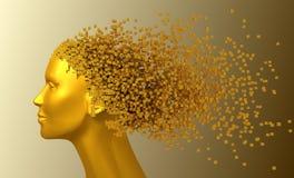 Cabeça do ouro da mulher e dos pixéis 3D como o cabelo Foto de Stock Royalty Free