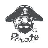 Cabeça do pirata com chapéu e tubulação do pirata Fotografia de Stock
